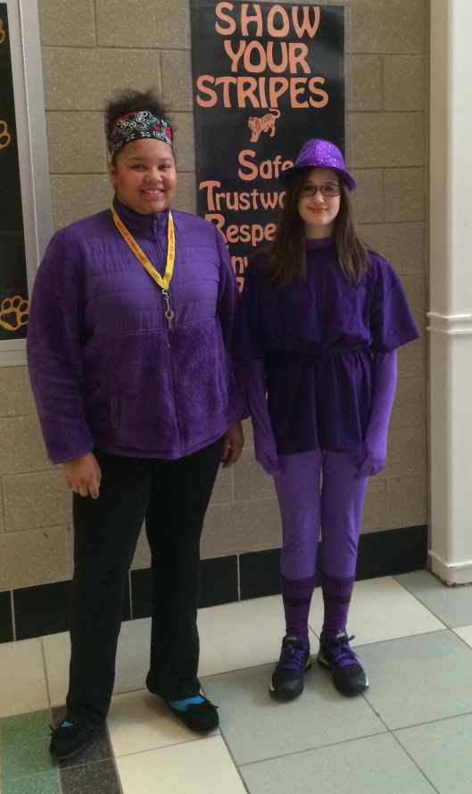 2014 AGS Middle School - Purple Out - 100% Student & Faculty Participation