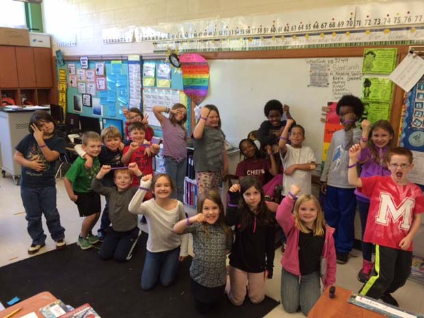 Purple Awareness:  Mrs. Christy VanArmun's 3rd grade class